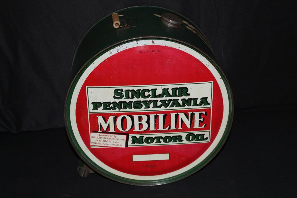 5 GAL ROCKER OIL CAN SINCLAIR MOBILINE