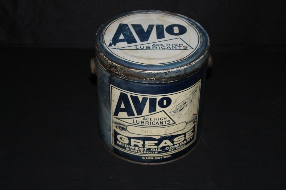 5# GREASE OIL CAN AVIO MIDWEST OIL CO MINNESOTA