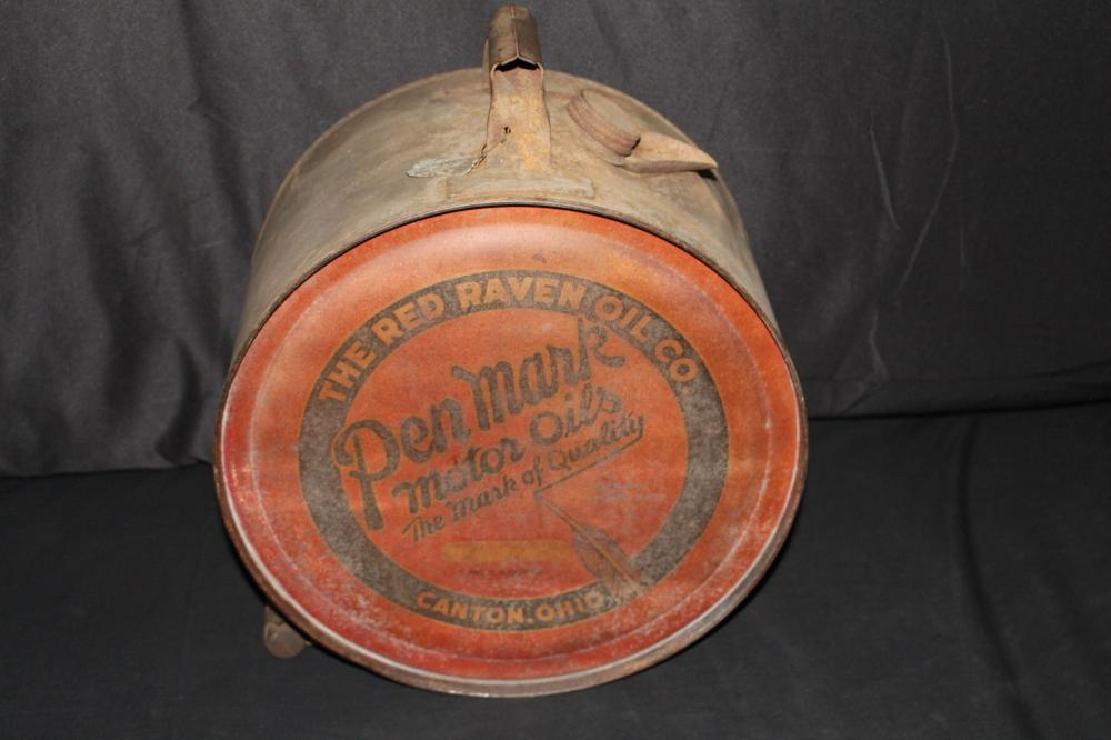 5 GAL ROCKER OIL CAN RED RAVEN PEN FEATHER