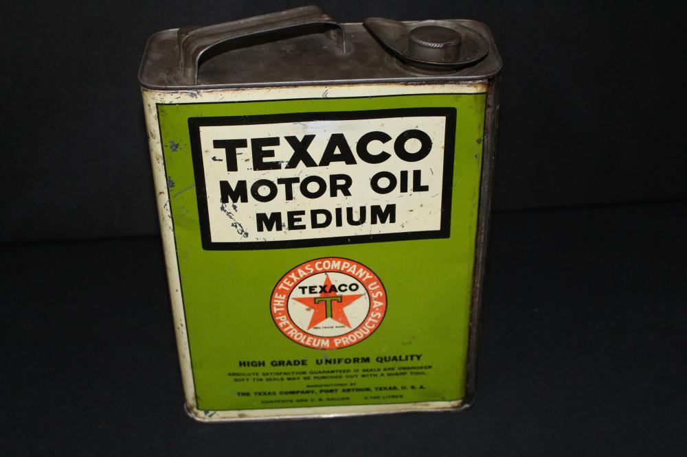 1 GAL OIL CAN TEXACO MEDIUM MOTOR OIL