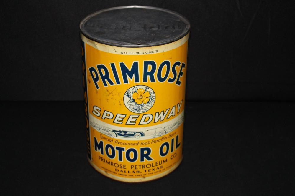 5 QUART OIL CAN PRIMROSE SPEEDWAY DALLAS TEXAS