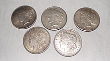 5 Silver Dollars, Peace & Morgan