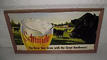 SELF FRAMED CARDBOARD SCHMIDT BEER SIGN WITH COWS