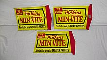 3 WATKINS MIN-VITE FEEDS TIN WEATHERVANE SIGNS