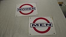 VINTAGE MEN & WOMEN REST ROOM SIGNS