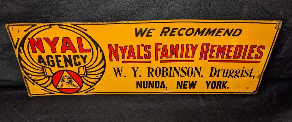 TIN SIGN NYAL'S FAMILY REMEDIES NUNDA NY