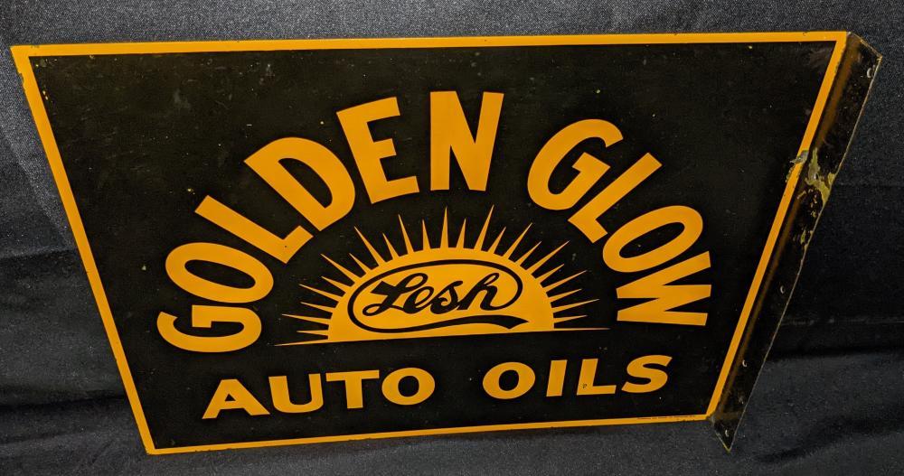 TIN FLANGE SIGN LESH GOLDEN GLOW AUTO OILS