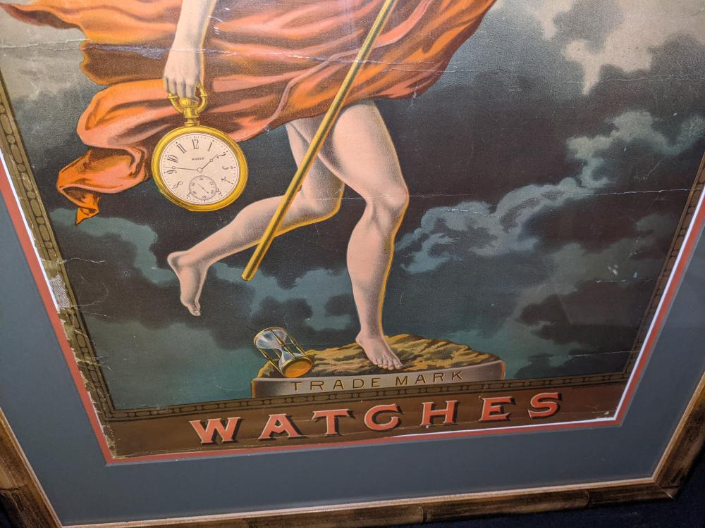 EARLY LITHO SIGN ELGIN WATCHES FATHER TIME