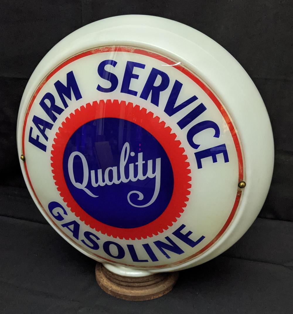 GLASS BODY GAS PUMP GLOBE FARM SERVICE GASOLINE
