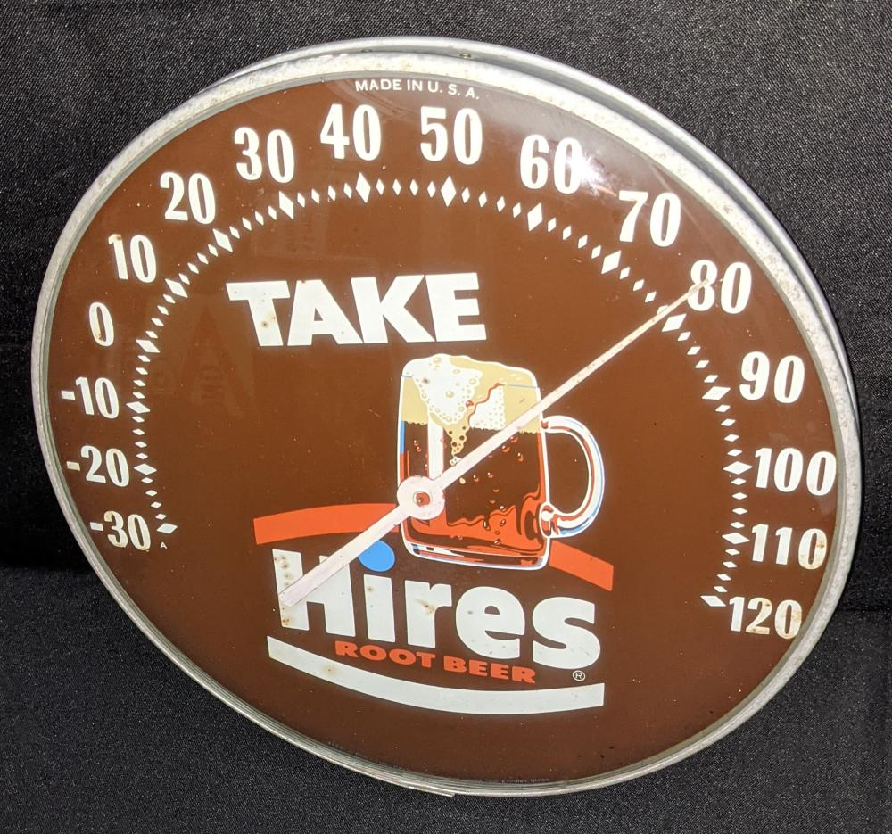 """12"""" THERMOMETER SIGN TAKE HIRES ROOT BEER"""