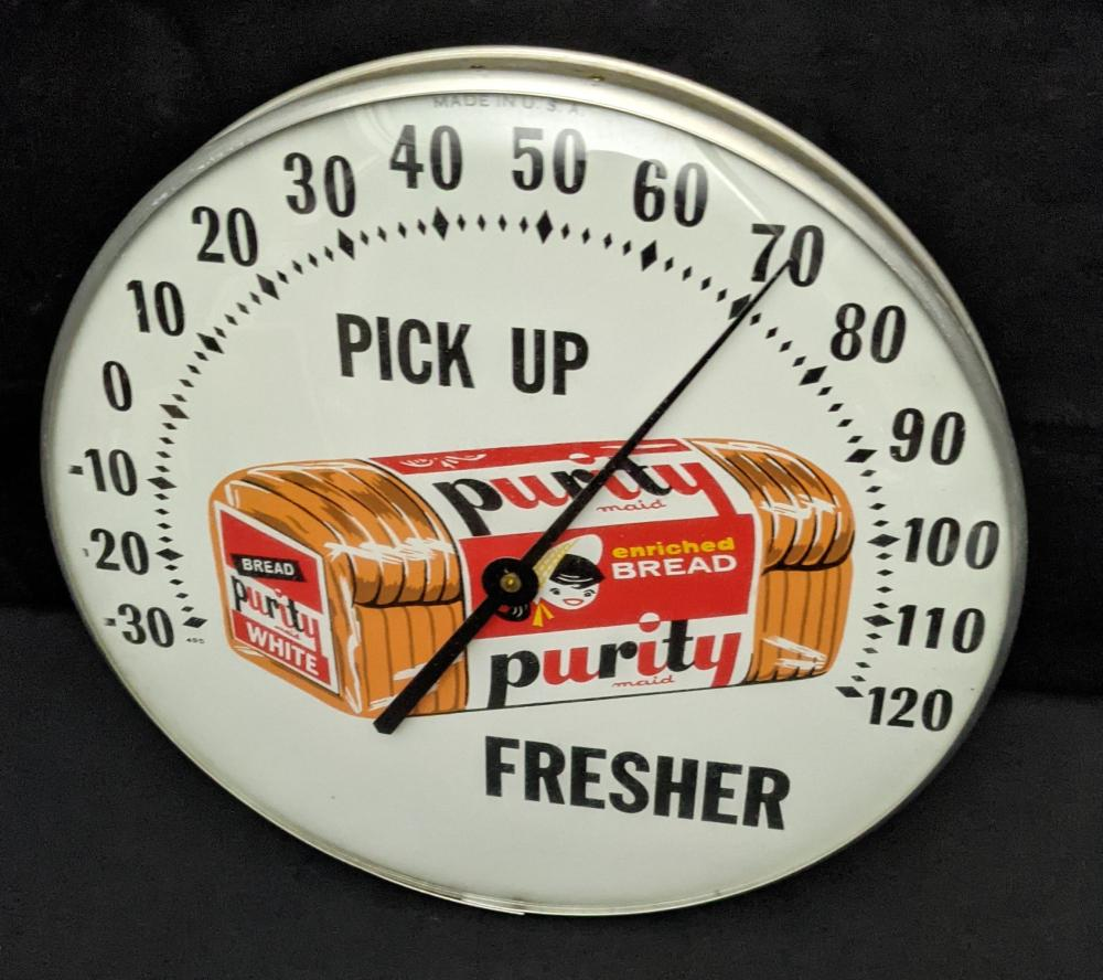 """12"""" THERMOMETER SIGN PICK UP PURITY BREAD"""