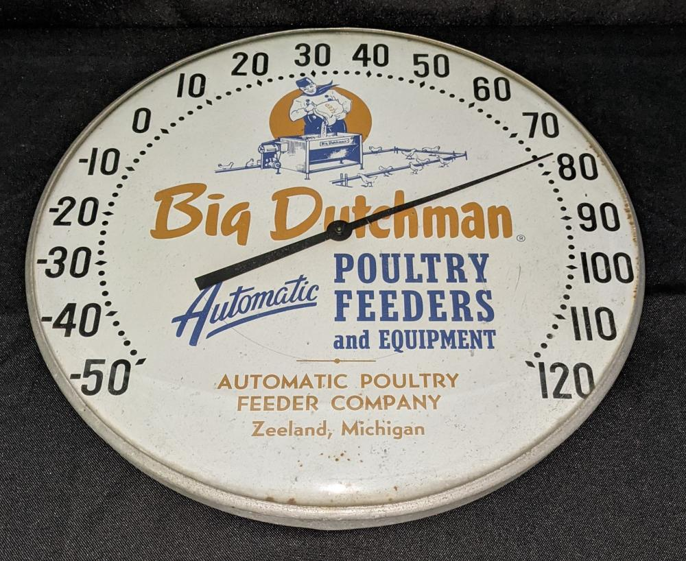 """12"""" THERMOMETER SIGN BIG DUTCHMAN POULTRY FEEDS"""