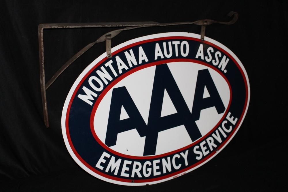 Triple Aaa Number >> Porcelain Montana Auto Assn Aaa Triple A Sign