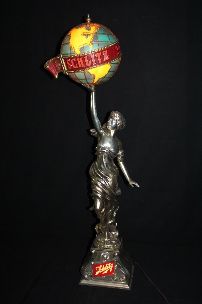 Schlitz Beer Lady Statue Lamp Sign