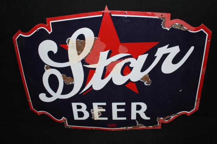 Porcelain Star Brewing Co Lomira WI Beer Sign