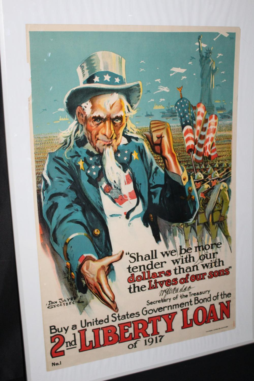 1917 WW1 UNCLE SAM WAR BOND POSTER SIGN