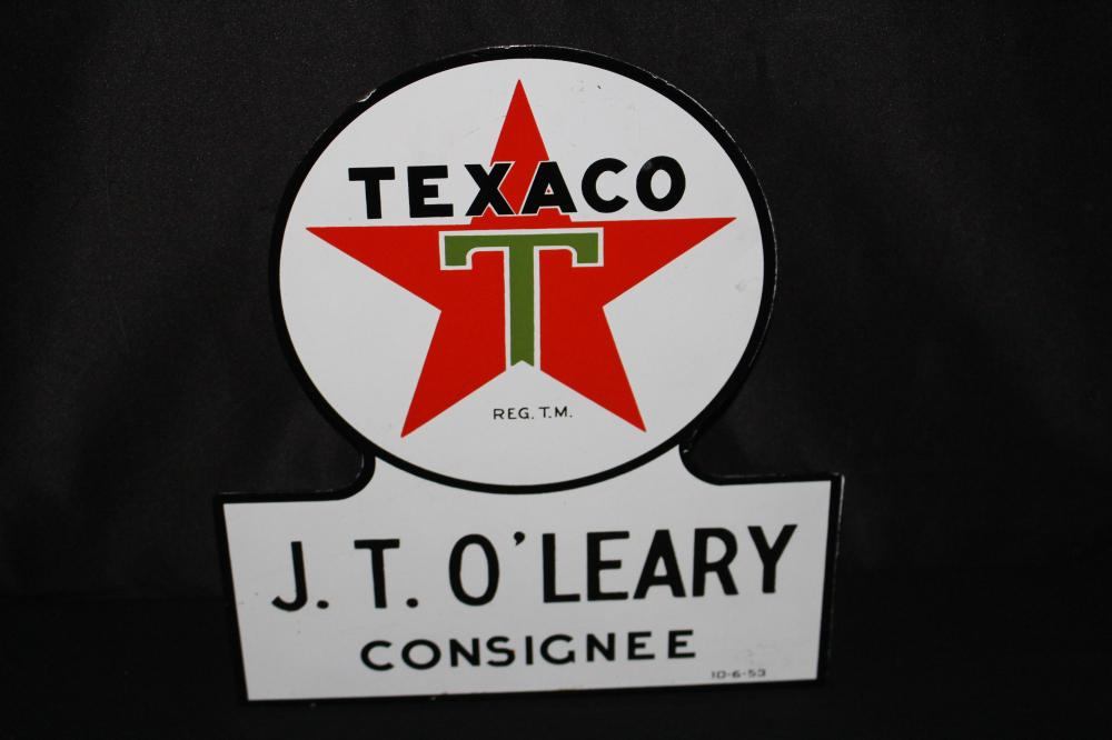 PORCELAIN JT O'LEARY TEXACO BULK TRUCK SIGN