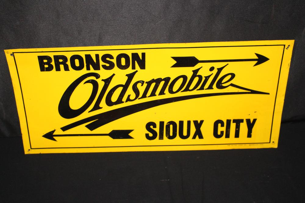 BRONSON OLDSMOBILE SIOUX CITY IOWA TIN SIGN