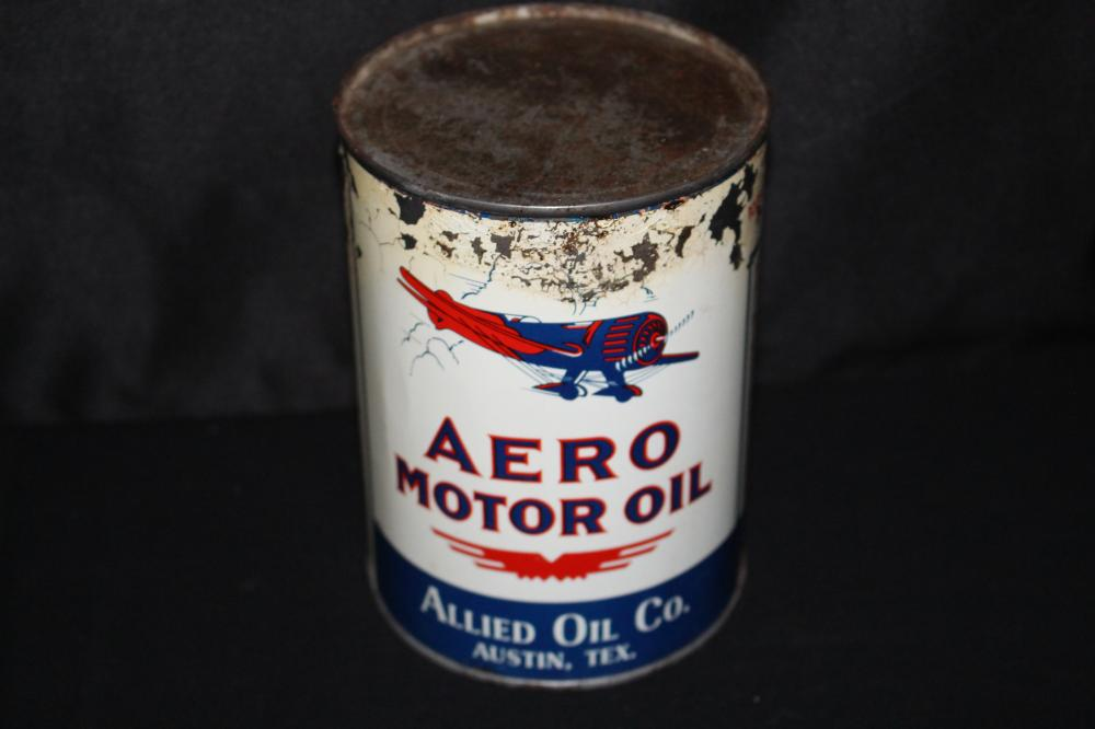 ALLIED OIL CO AUSTIN TEXAS QUART AERO OIL CAN