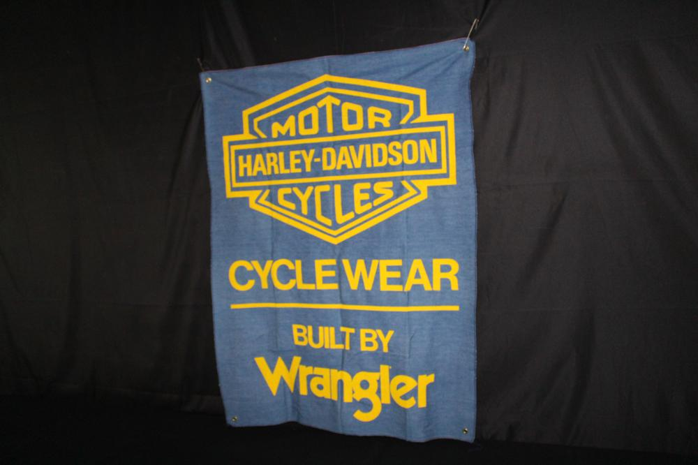HARLEY DAVIDSON WRANGLER DENIM MOTORCYLE WEAR SIGN