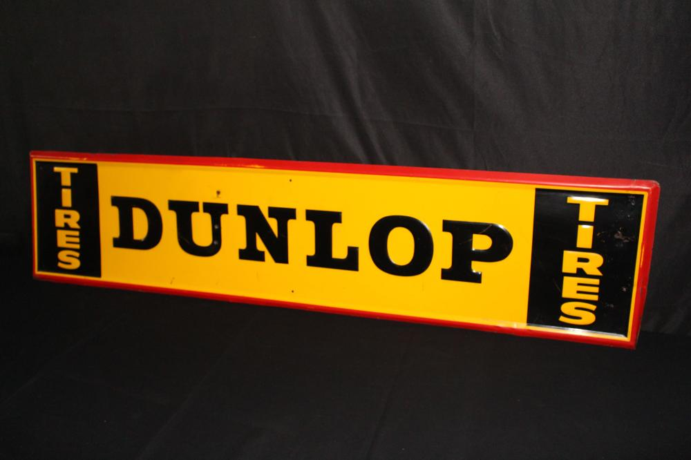 DUNLOP TIRES EMBOSSED TIN TIRE SIGN