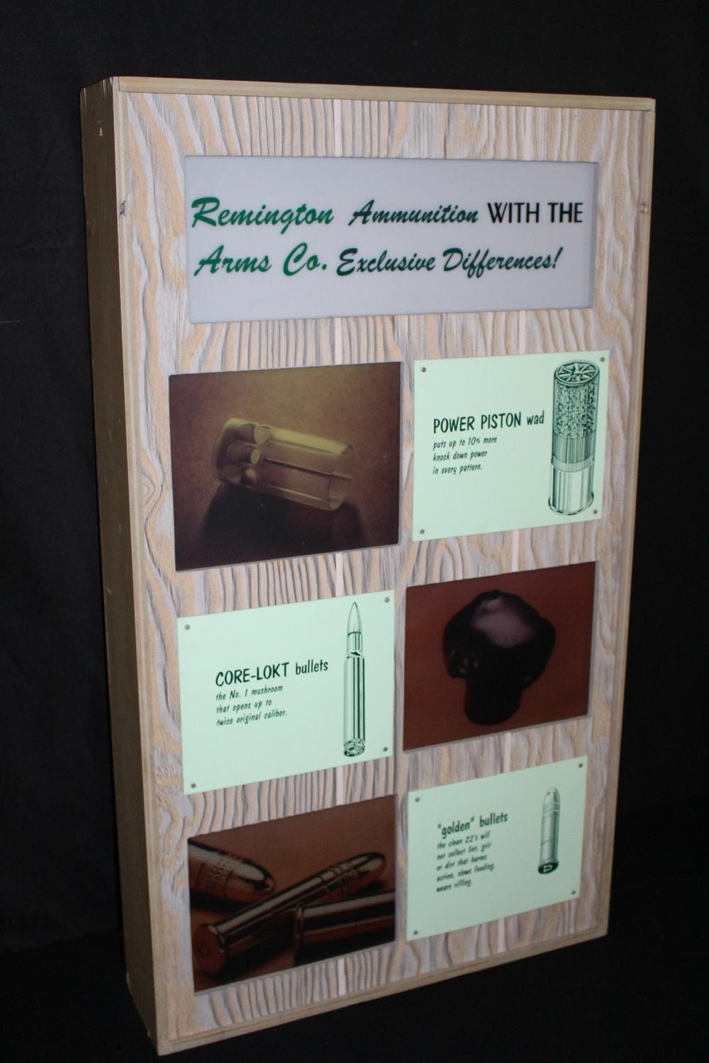 REMINGTON ARMS CO LIGHTED AMMUNITION DISPLAY SIGN