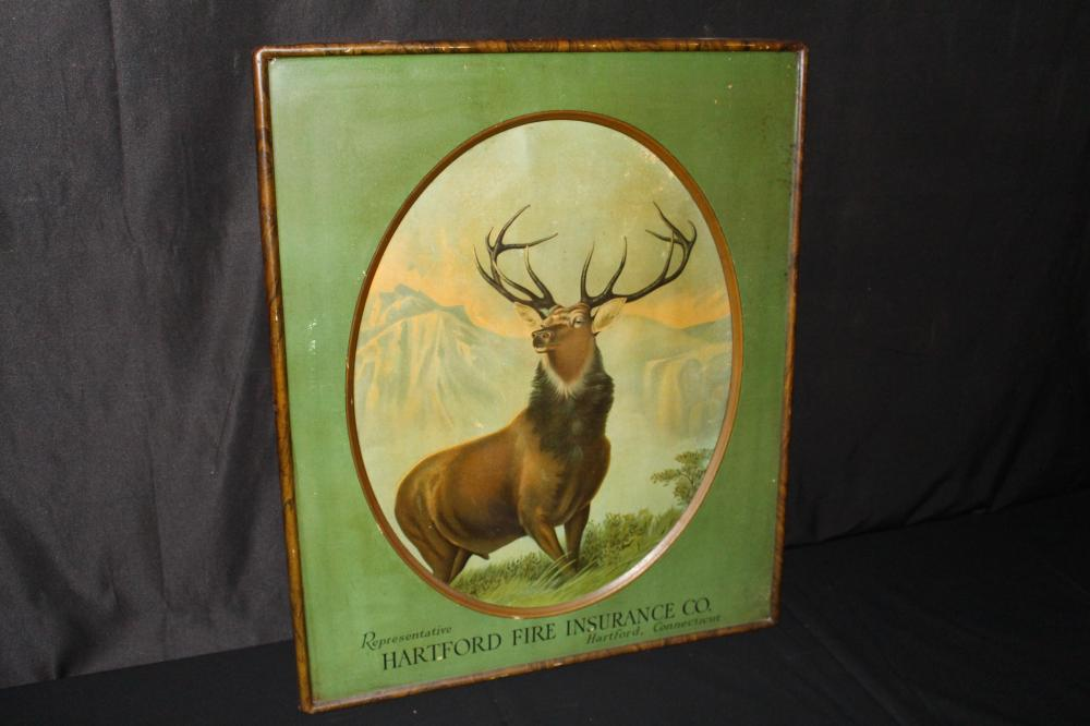 HARTFORD FIRE INSURANCE TIN LITHO STAG SIGN
