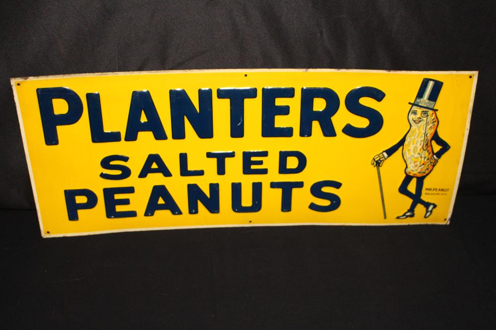 RARE TIN LITHO PLANTERS SALTED PEANUTS SIGN