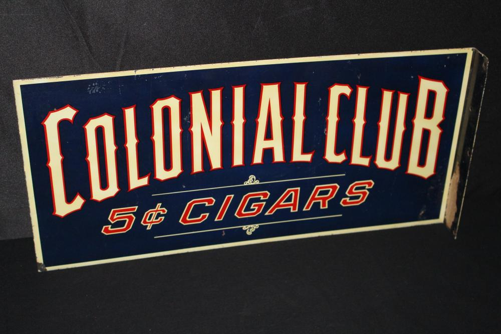 COLONIAL CLUB CIGARS 5 CENTS FLANGE SIGN