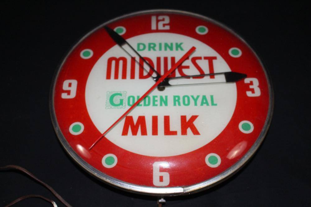 DRINK MIDWEST GOLDEN ROYAL MILK CLOCK SIGN