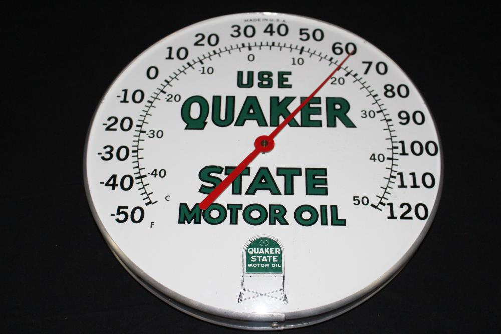 NOS QUAKER STATE MOTOR OIL THERMOMETER SIGN
