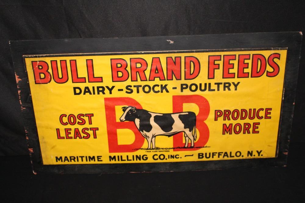BULL BRAND FEEDS CARDBOARD FARM FEED SIGN