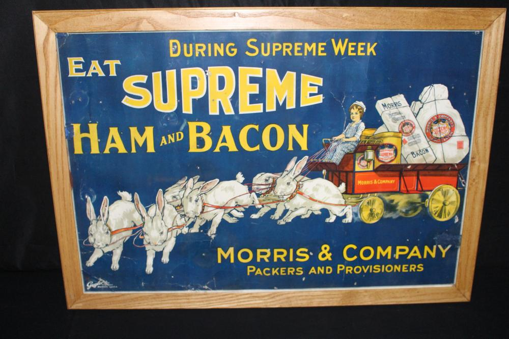 MORRIS & CO MEAT PACKERS LITHO SIGN