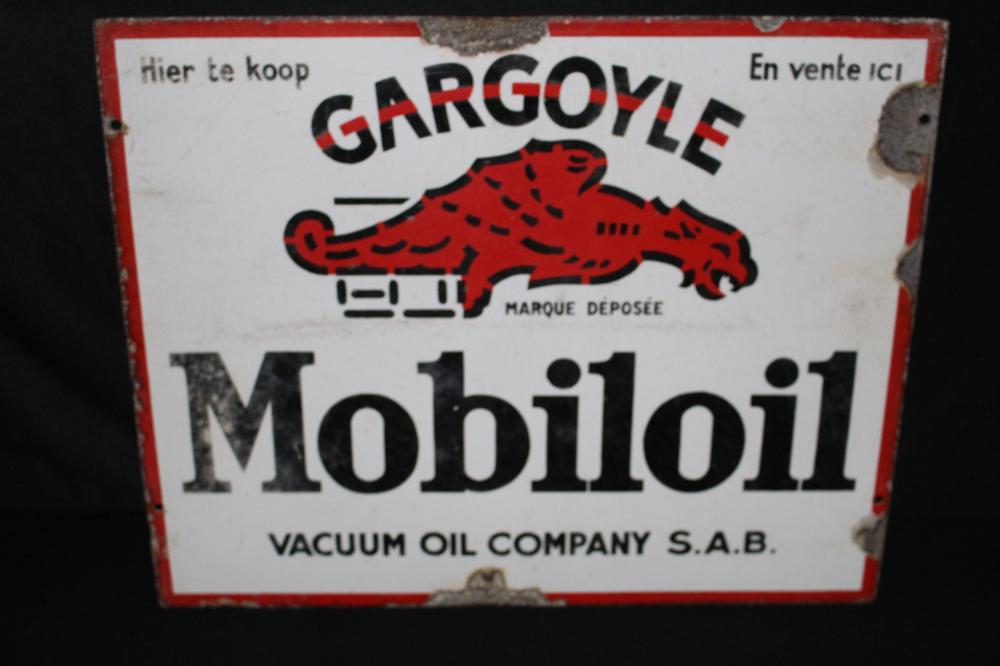 EUROPEAN PORCELAIN GARGOYLE MOBILOIL SIGN