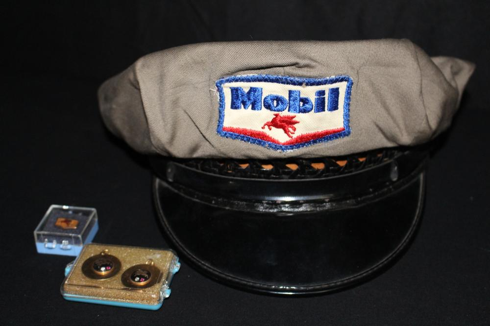 MOBIL SERVICE STATION HAT 3 GOLD DIAMOND RUBY PINS