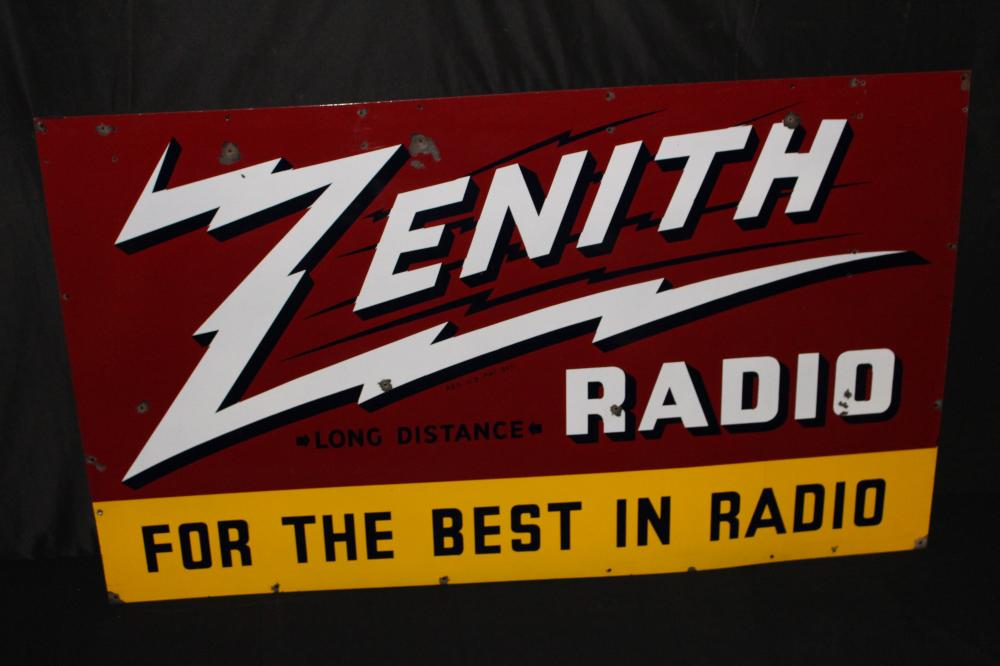 PORCELAIN ZENITH LONG DISTANCE RADIO DEALER SIGN