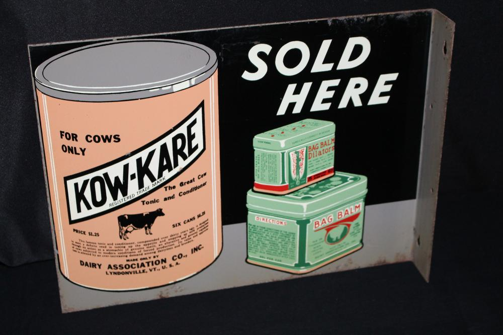 KOW KARE BAG BALM DAIRY COW MEDECINE FLANGE SIGN