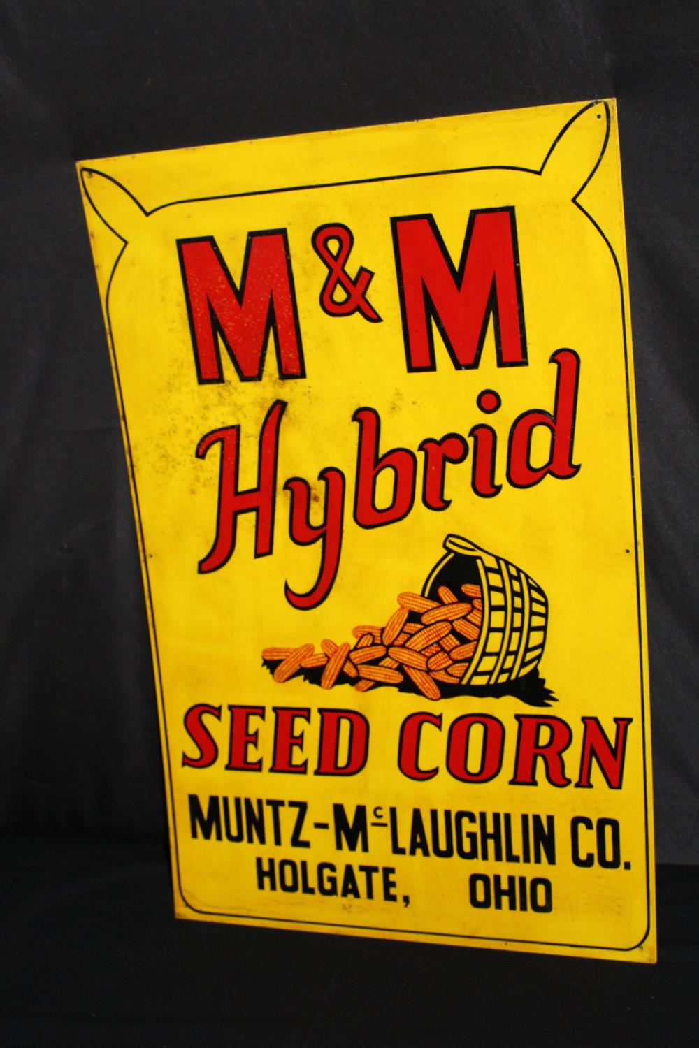 M&M HYBRID SEED CORN HOLGATE OH TIN FARM SIGN