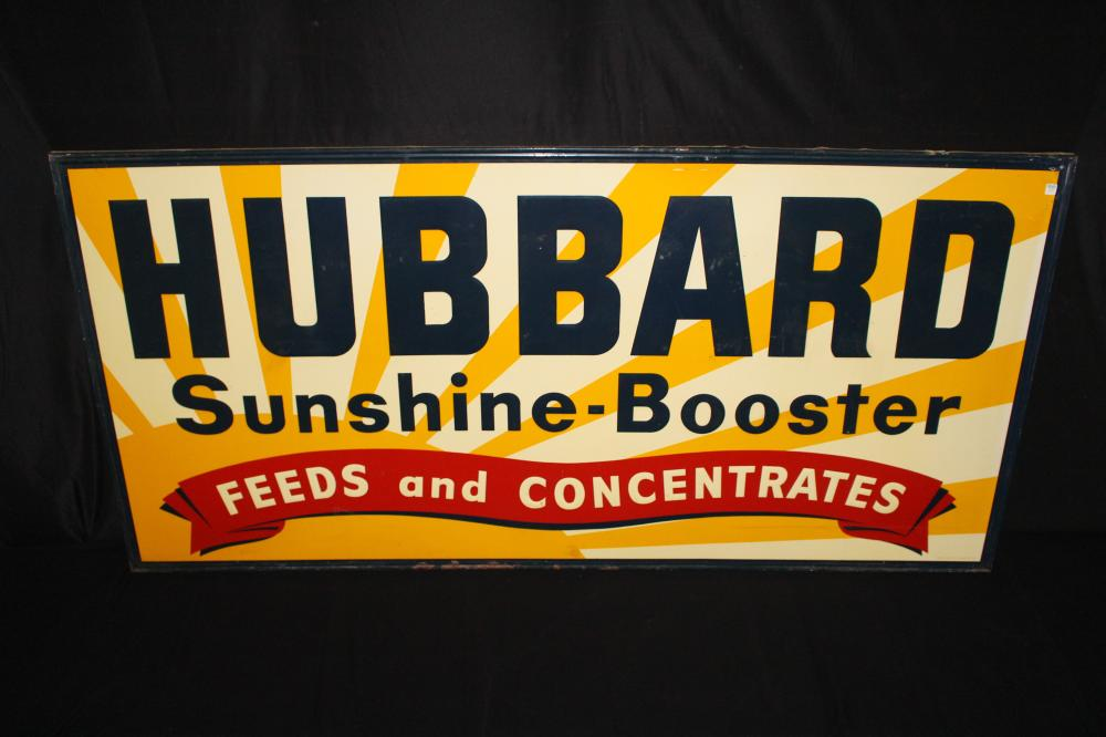 HUBBARD SUNSHINE BOOSTER FEED TIN FARM SIGN