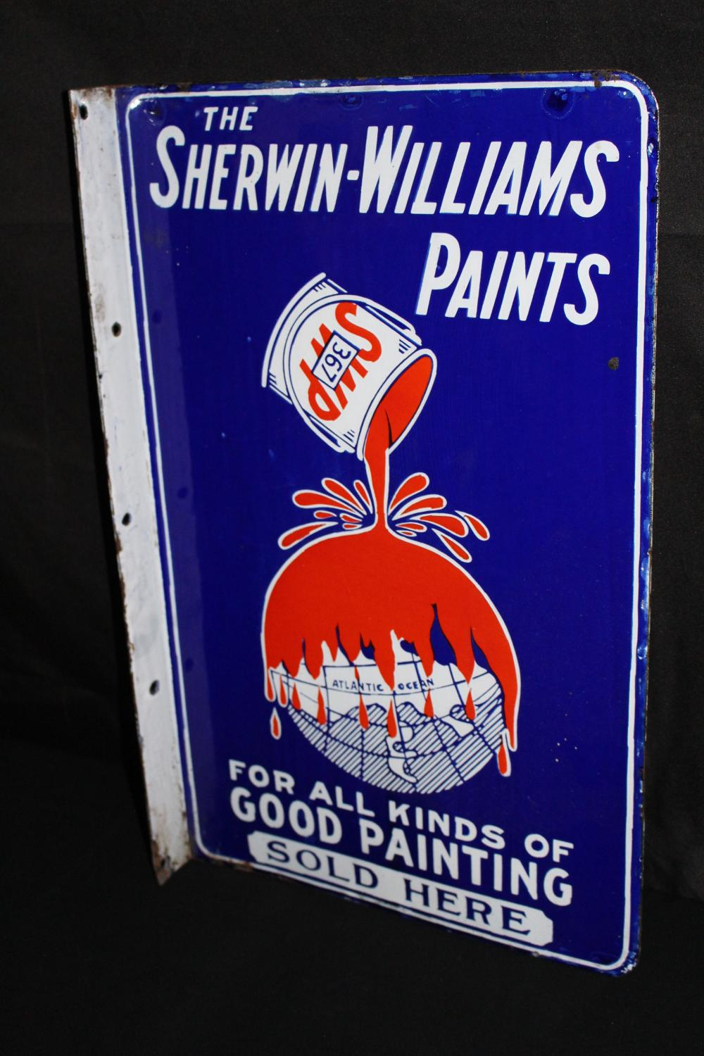 PORCELAIN SHERWIN WILLIAMS PAINT FLANGE SIGN
