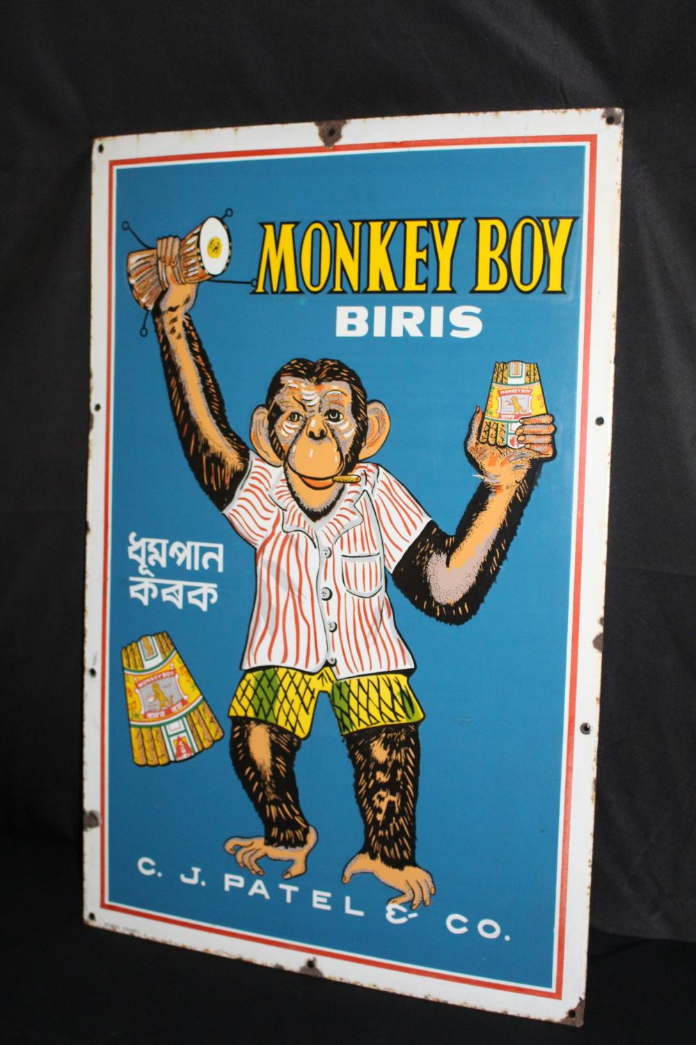 PORCELAIN MONKEY BOY CIGAR CIGARETTES SIGN