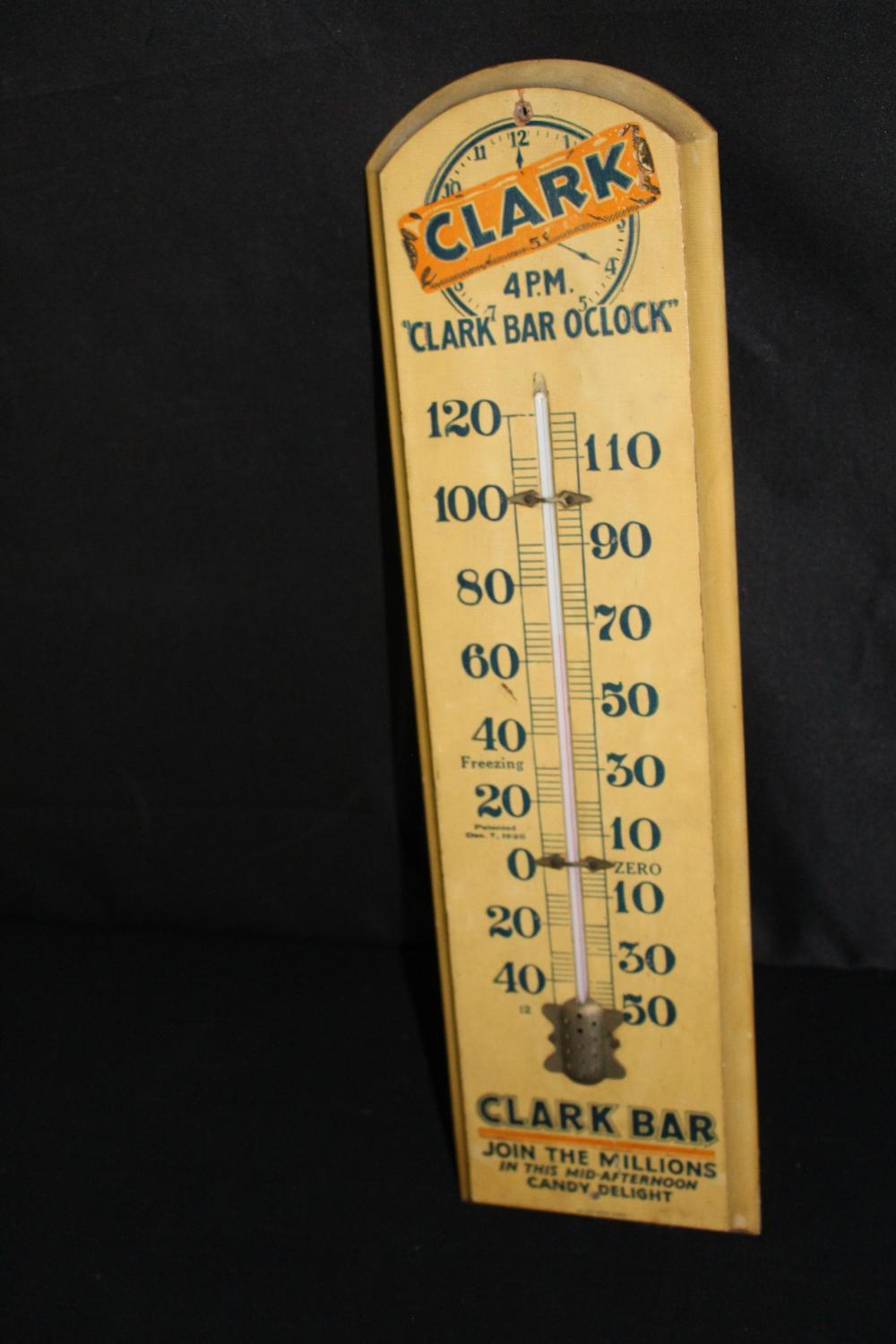 CLARK CANDY BAR WOOD THERMOMETER SIGN