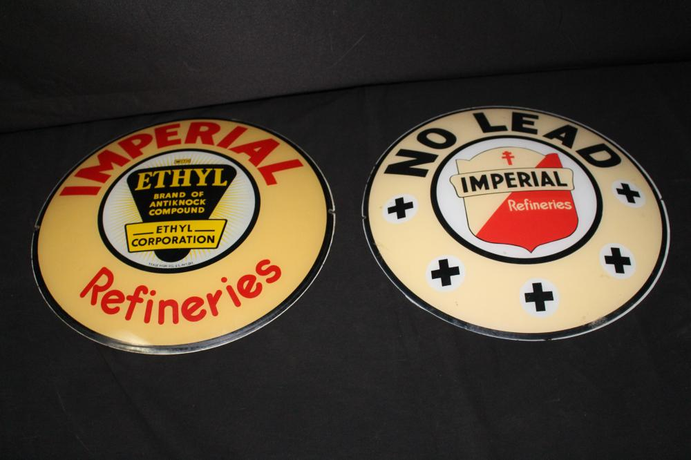 PAIR IMPERIAL GASOLINE GAS PUMP GLOBE LENSES