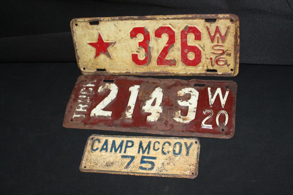 1916 WISCONSIN DEALER LICENSE PLATE CAMP MCCOY TAG
