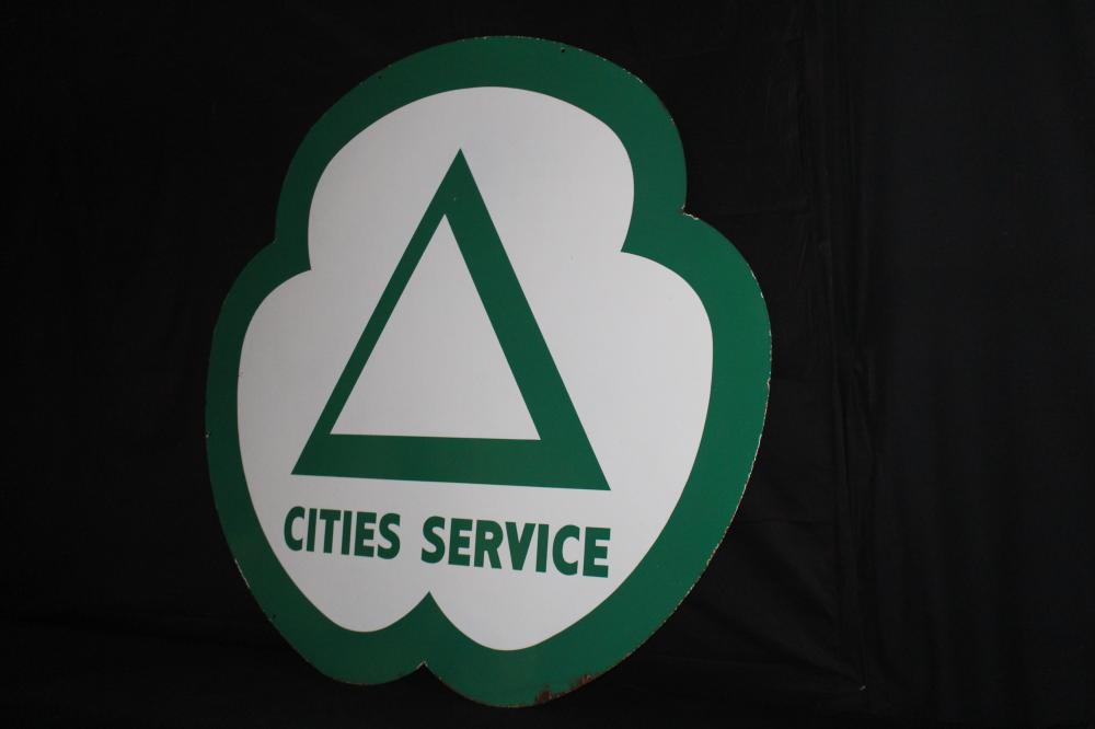 "72"" PORCELAIN CITIES SERVICE GASOLINE GAS SIGN"