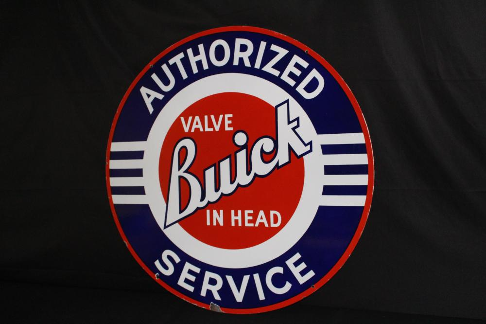 PORCELAIN BUICK VALVE IN HEAD SERVICE SIGN