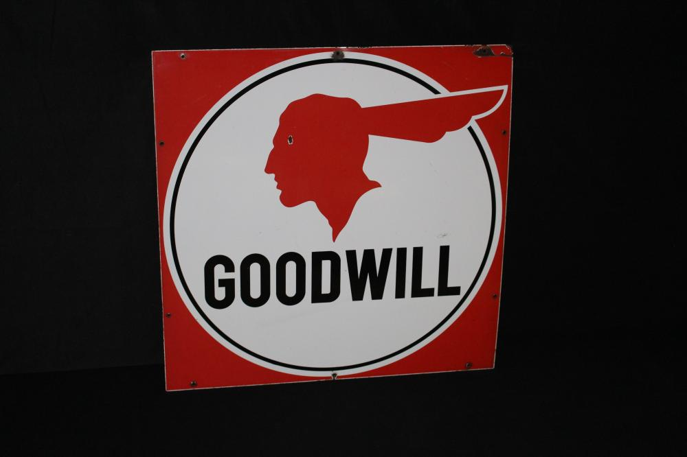 PORCELAIN PONTIAC GOODWILL USED CARS SIGN