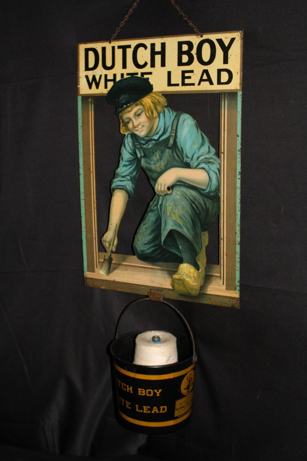 RARE DUTCH BOY LEAD PAINT STRING HOLDER SIGN