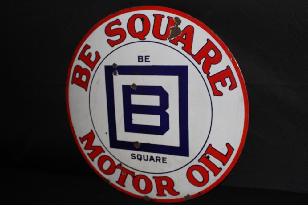 PORCELAIN BARNSDALL B SQUARE MOTOR OIL SIGN
