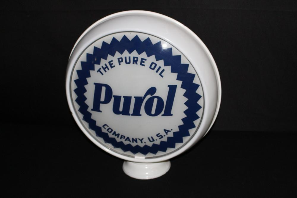 PORCELAIN BODY PURE OIL CO PUROL GAS PUMP GLOBE